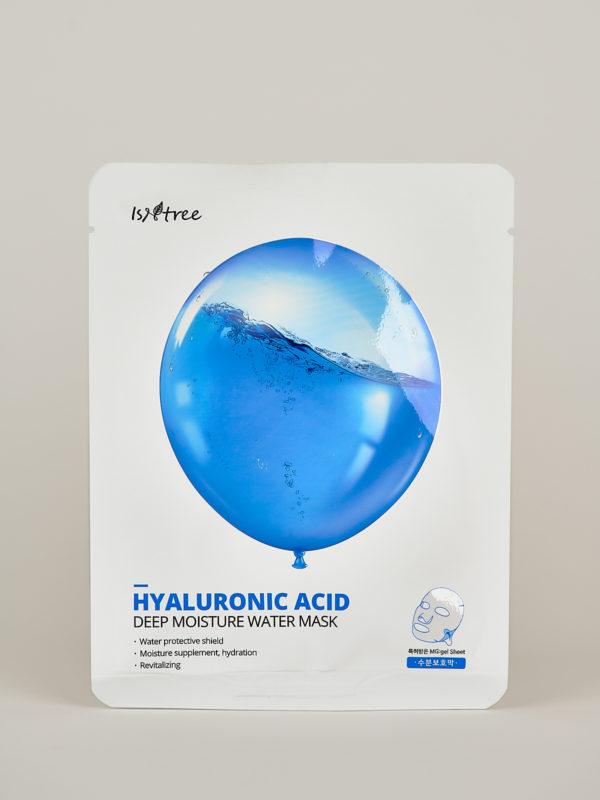 Isntree Hyaluronic Acid Moisture Mask. Korean Sheet Mask in weißer Verpackung, darauf ein blauer Ballon gefüllt mit Wasser.