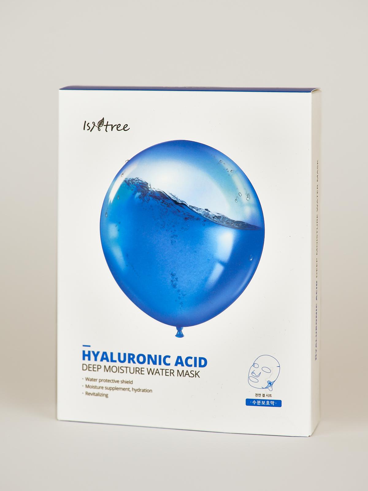 Isntree Hyaluronic Acid Deep Moisture Water Mask Pack. Weiße Box mit 10 Sheet Masks, darauf ein blauer Ballon voll Wasser.