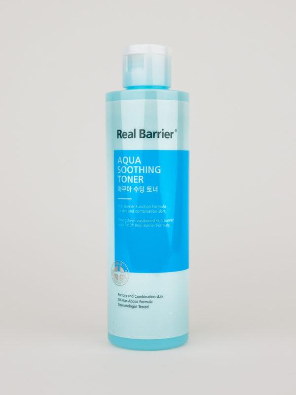 Real Barrier Aqua Soothing Toner in türkisener Flasche
