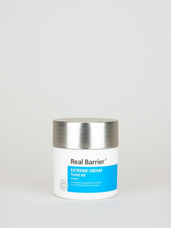 Real Barrier Extreme Cream. Koreanische Creme für trockene Haut in weiß blauer Dose mit silbernem Deckel.