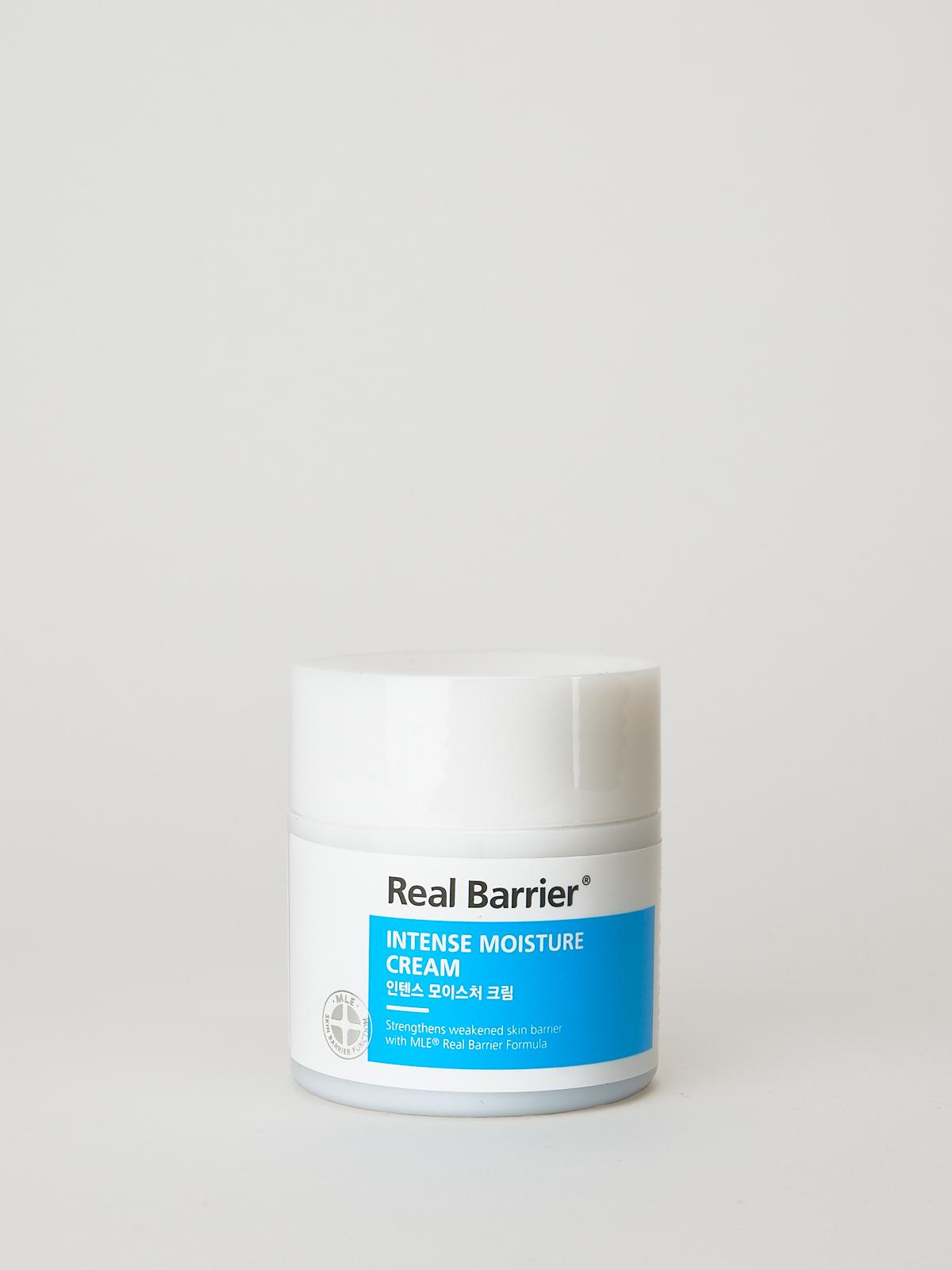 Real Barrier Intense Moisture Cream. K-Beauty Feuchtigkeitscreme in weiß blauer Dose mit weißem Deckel.